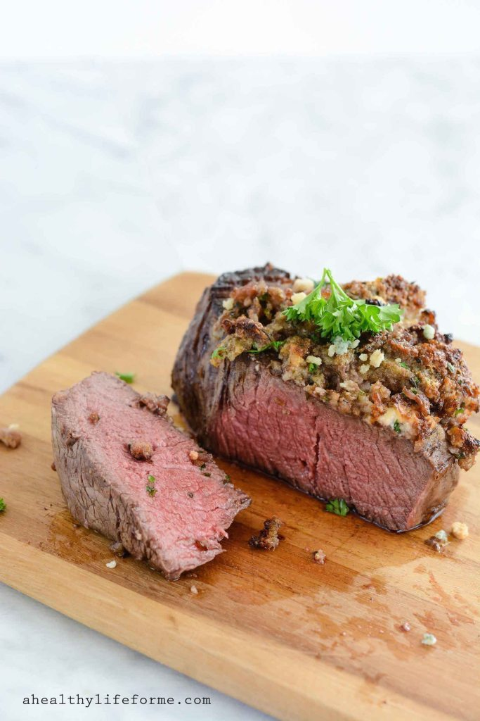 Blue Cheese Crusted Filet Gluten Free Recipe   ahealthylifeforme.com