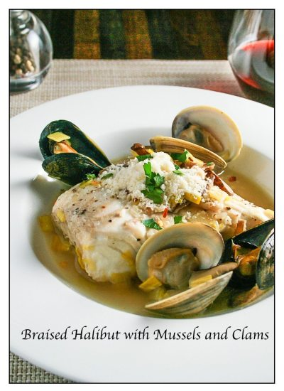 Braised Halibut with Leeks Clams and Mussels Recipe | ahealthylifeforme.com