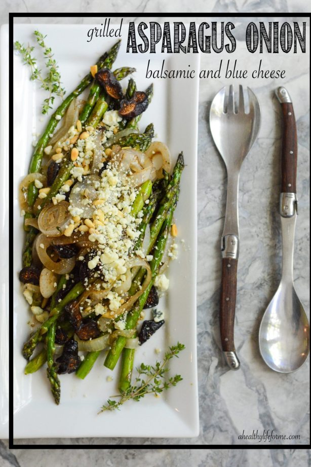 Grilled Asparagus Onion Balsamic Blue Cheese