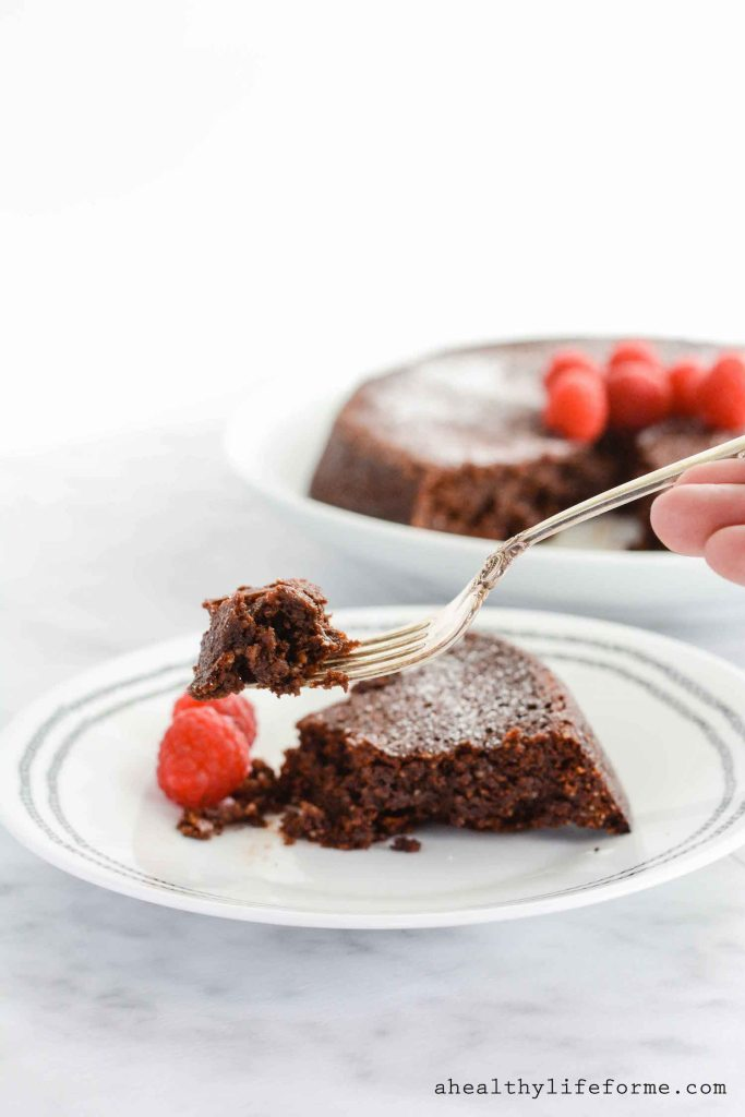 Chocolate Almond Torte a dense, decadent cake recipe that is also gluten free | ahealthylifeforme.com