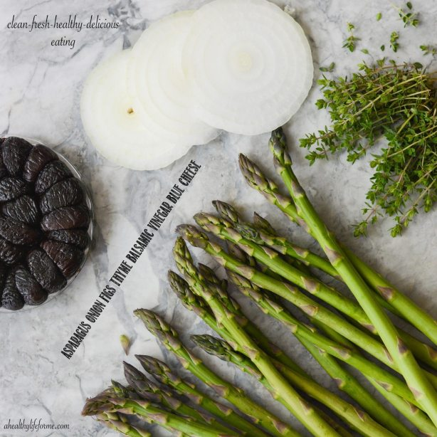 Ingredients for Grilled Asparagus Onion Balsamic Blue cheese Recipe
