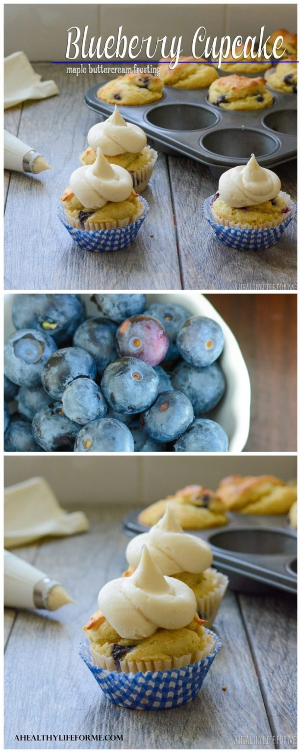 Blueberry Cupcakes with Maple Buttercream Frosting are a delightful cupcake topped with a decadent frosting enhanced with maple syrup. Gluten Free Recipe   ahealthylifeforme.com