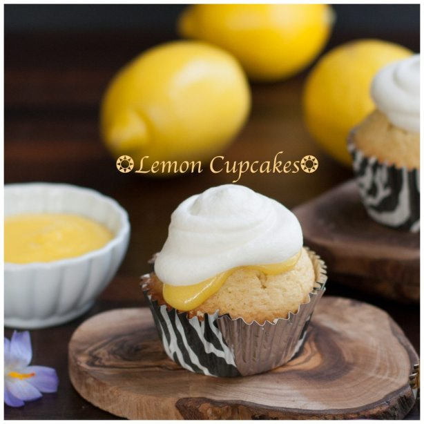 Lemon Cupcakes made with Lemon Curd and Whipped cream