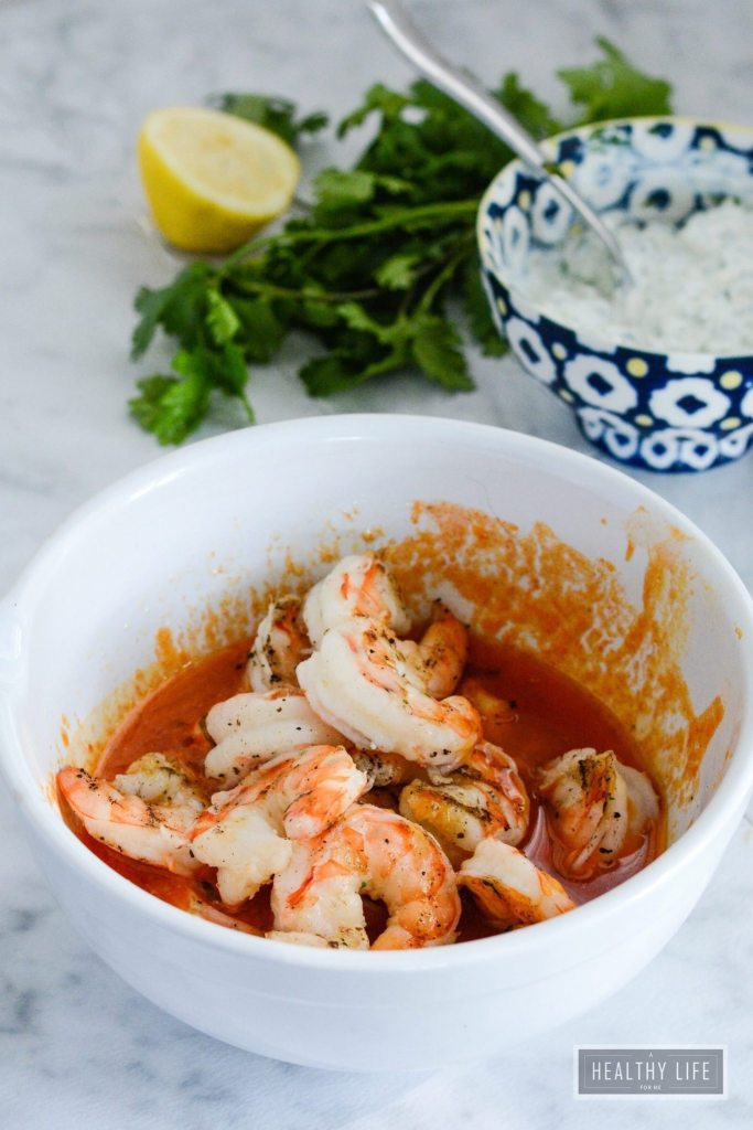 Barbeuce Grilled Shrimp with Blue Cheese Dip is a spicy, savory, recipe ready in under 15 minutes | ahealthylifeforme.com