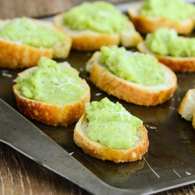 Fava Bean and Manchego Crostini
