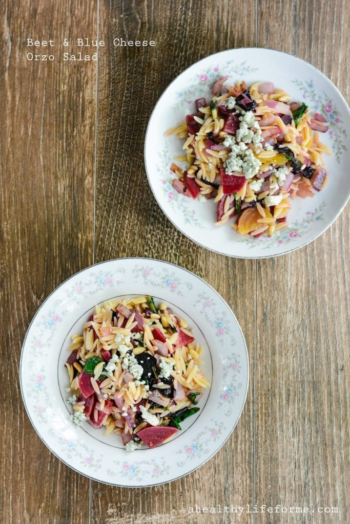 Beet and Blue Cheese Orzo Salad is a light, healthy and delicious summer salad recipe   ahealthylifeforme.com