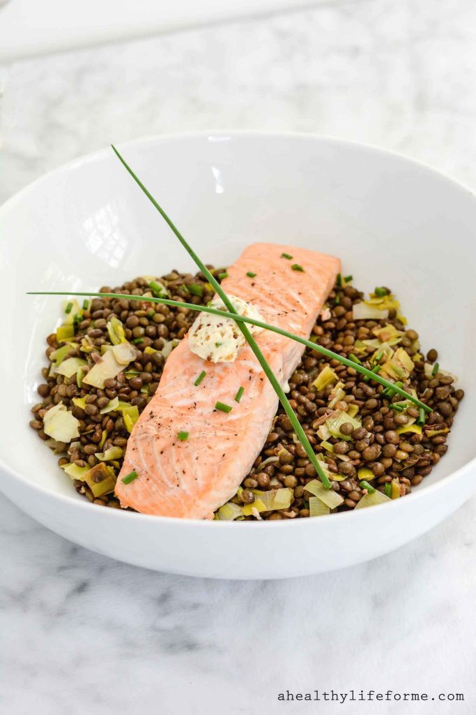 Salmon and Lentils with Herb Mustard Butter Recipe | ahealthylifeforme.com