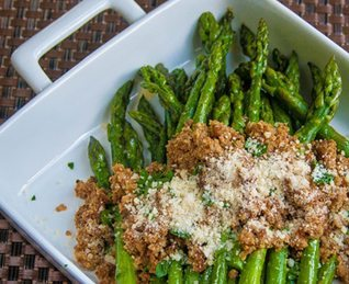 Asparagus with Brown Buttered Breadcrumbs