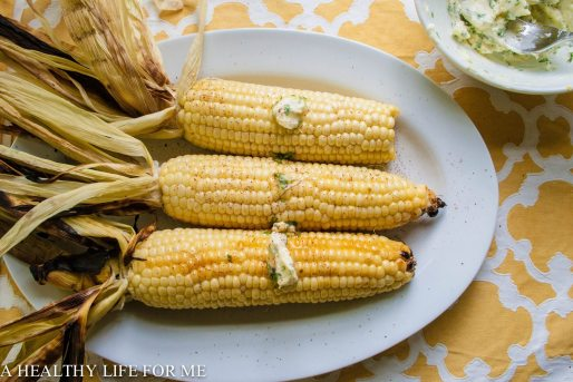 Grilled Corn on the Cob with Cilantro Lemon Butter