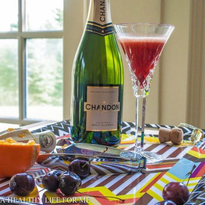 Orange and Cherry Mimosa Cocktail