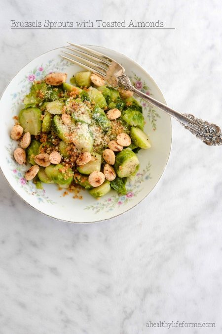 Brussels Sprouts with Toasted Almond Recipe   ahealthylifeforme.com