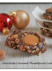Chocolate Caramel Thumbprint Cookie Recipe | ahealthylifeforme.com