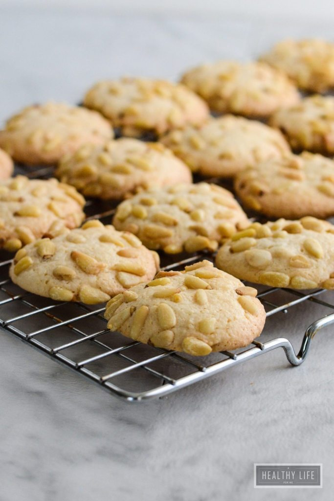 Italian Pignoli Cookie is an italian sicilian classic cookie recipe that is similar to a macroon crispy chewy and almondy cookie | ahealthylifeforme.com