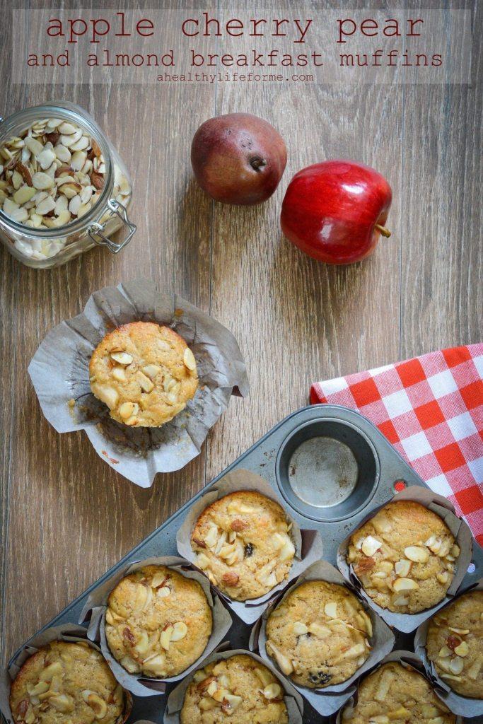 Apple Cherry Pear Almond Breakfast Muffins Recipe   ahealthylifeforme.com