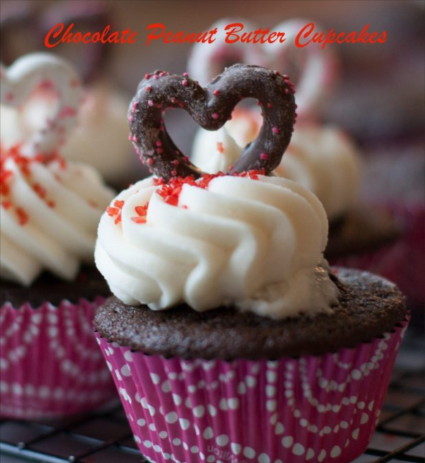 Chocolate Peanut Butter Cupcakes with buttercream frosting and chocolate covered pretzels