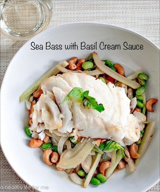 Sea Bass with Basil Cream Sauce