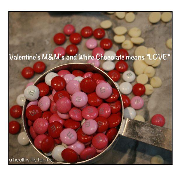 White Chocolate and M&M Valentine's Day Cookies