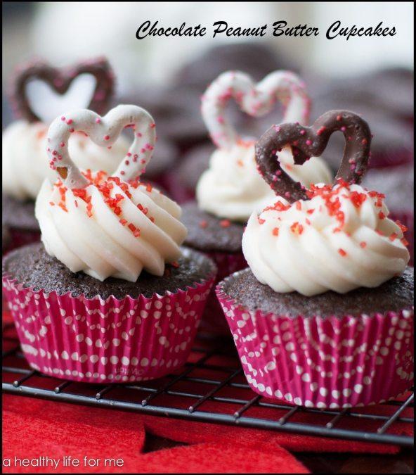 Chocolate Peanut Butter Cupcake Valentines Day