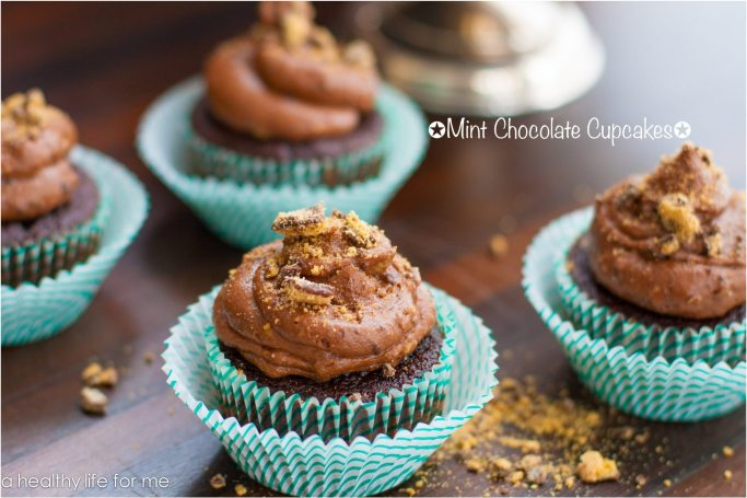 Mint Chocolate Cupcakes Recipe made with girl scout cookies | ahealthylifeforme.com