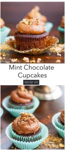 Mint Chocolate Cupcake Recipe made with Girl Scout Cookies | ahealthylifeforme.com