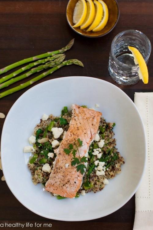 Salmon Quinoa Feta and Spinach Recipe | ahealthylifeforme.com