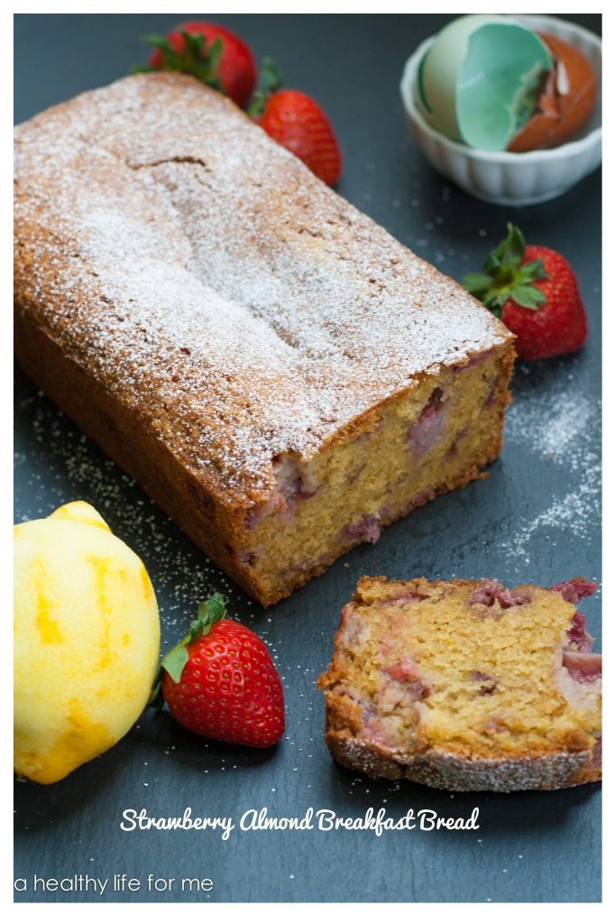 Strawberry Almond Breakfast Bread moist delicious and packed with healthy ingredients   ahealthylifeforme.com