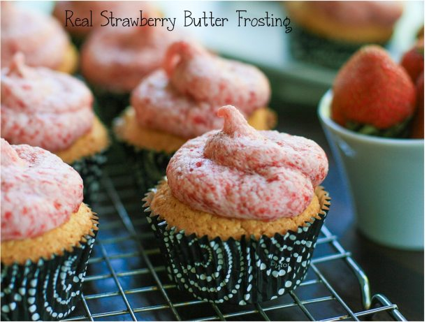 Real Strawberry Butter Frosting cupcake