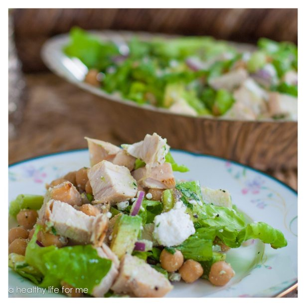 Chicken and Chickpea Salad Avocado Bibb Lettuce Red Onion Healthy