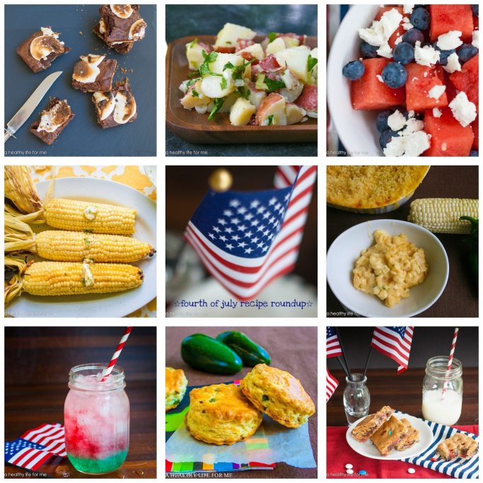 s'mores italian potato salad red white and blue salad grilled corn sweet corn mac n cheese m & m bars jalapeno cheddar biscuits fourth of july slushy