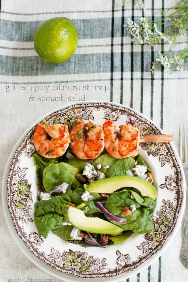 Grilled Spicy Cilantro Shrimp and Spinach Salad | ahealthylifeforme.com
