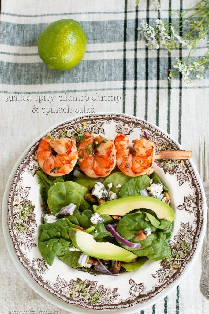 Grilled Spicy Cilantro Shrimp Salad Recipe | ahealthylifeforme.com