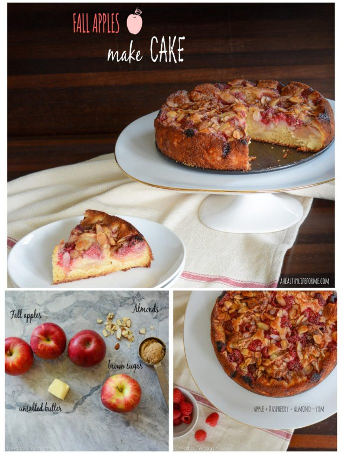 Apple Raspberry Almond Cake Recipe | ahealthylifeforme.com