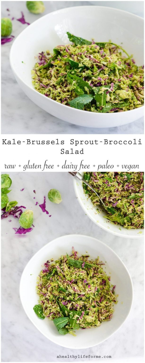 Kale Brussels Sprout Broccoli Salad is a jackpot of crunchy green vegetables, topped with a sweet apple chia seed vinaigrette | ahealthylifeforme.com