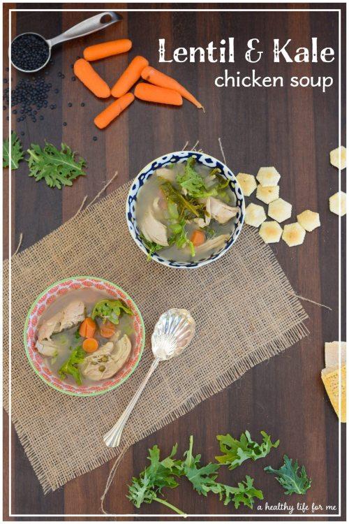 Lentil Kale chicken soup recipe | ahealthylifeforme.com