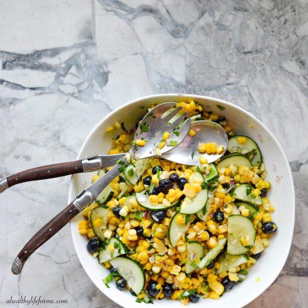 Blueberry Corn Salad | ahealthylifeforme.com