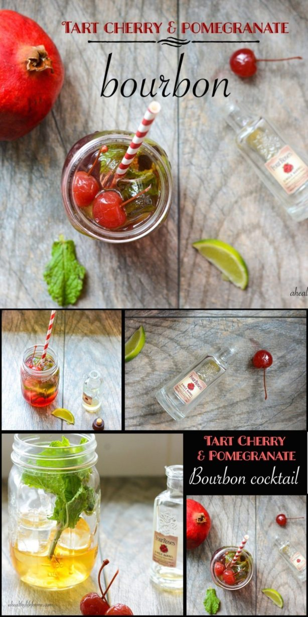 Tart Cherry Pomegranate Bourbon Cocktail perfect to way to celebrate spring | ahealhtylifeforme.com