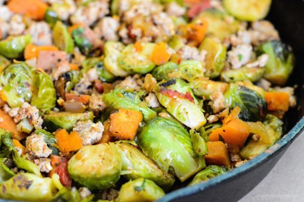 Brussels Sprout Sweet Potato Hash Recipe   ahealthylifeforme.com