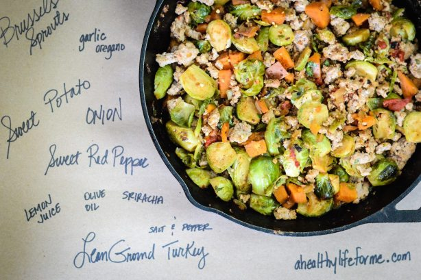 Brussels Sprout sweet potato hash 2