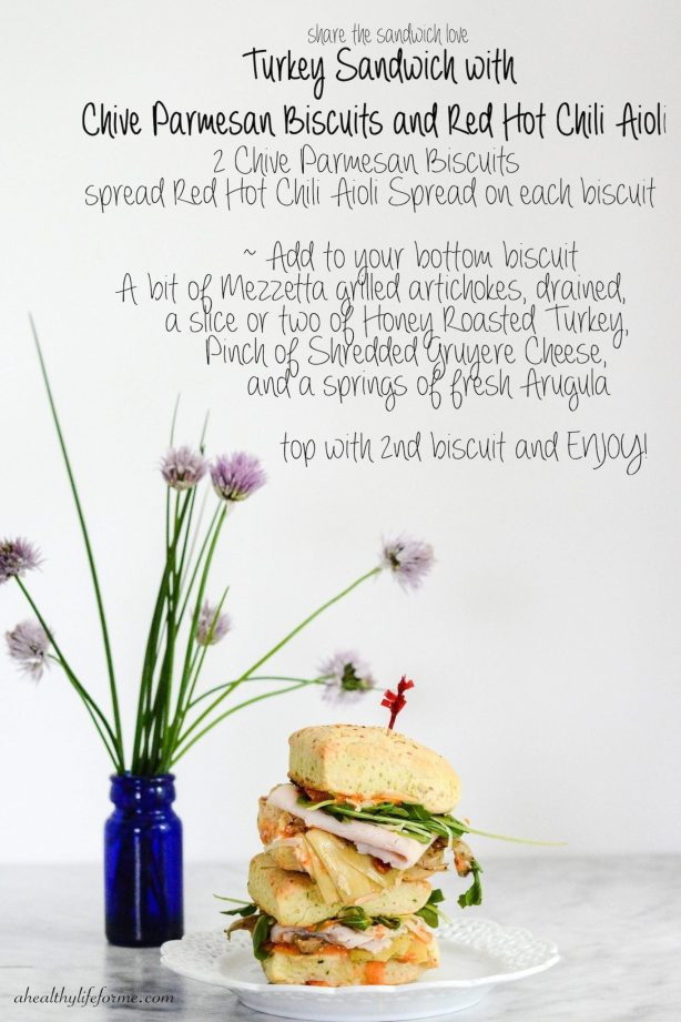 Chive and Parmesan Biscuits | Italian Turkey Sandwich with Chive Parmesan Biscuits | ahealthylifeforme.com