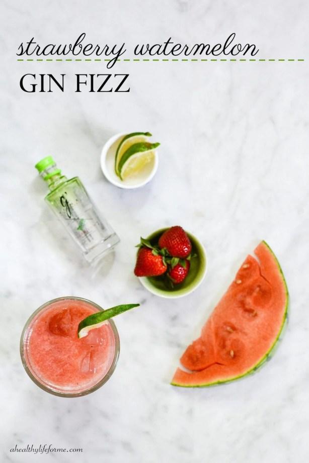 Strawberry Watermelon Gin Fizz | ahealthylifeforme.com
