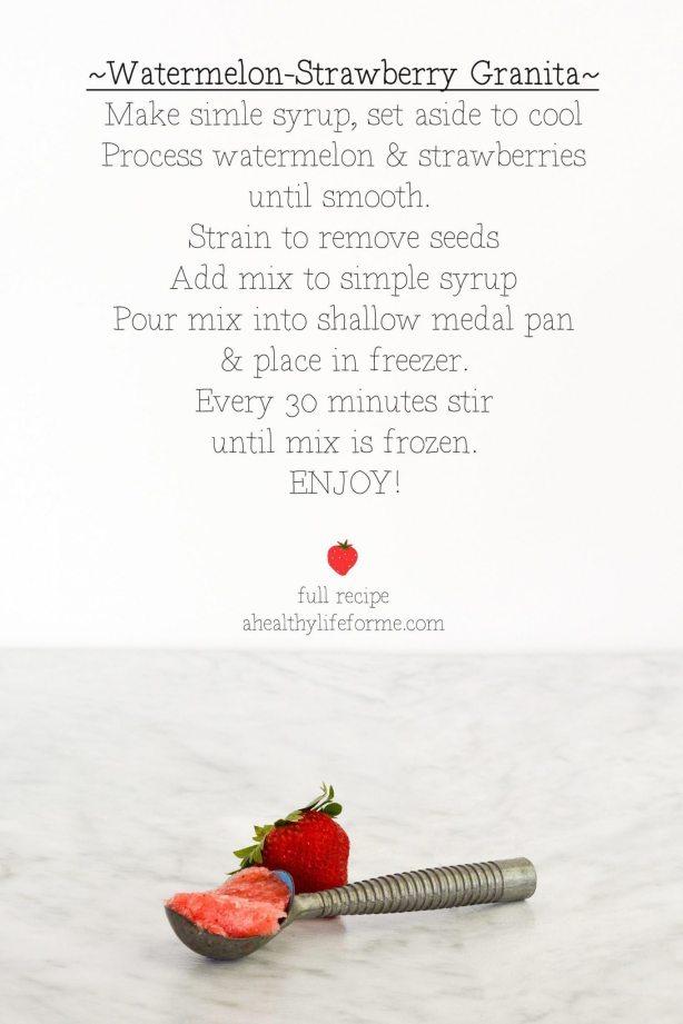 Strawberry Watermelon Granita | ahealthylifeforme.com