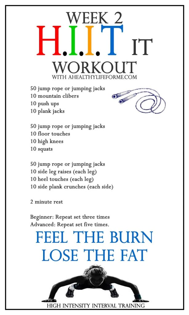 HIIT Workout Week 2 | ahealthylifeforme.com