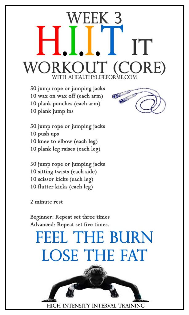 HIIT it Workout CORE Week 3 | ahealthylifeforme.com