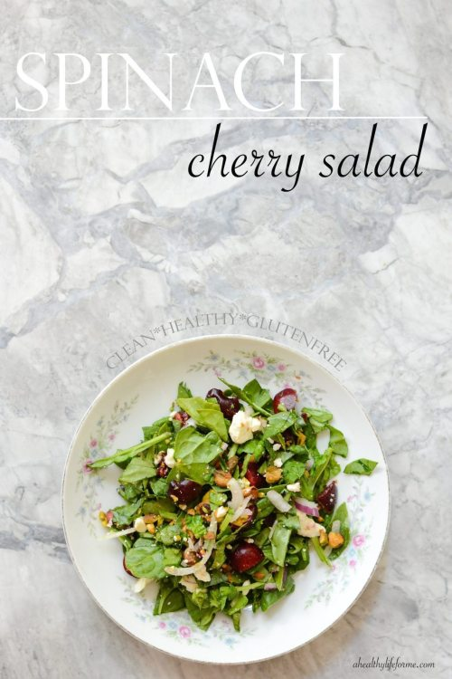 Spinach Cherry Salad Healthy Gluten Free Recipe | ahealthylifeforme.com