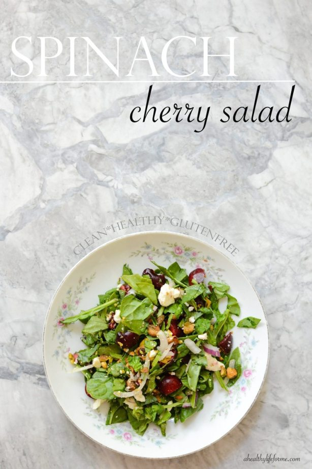 Spinach Cherry Salad | ahealthylifeforme.com