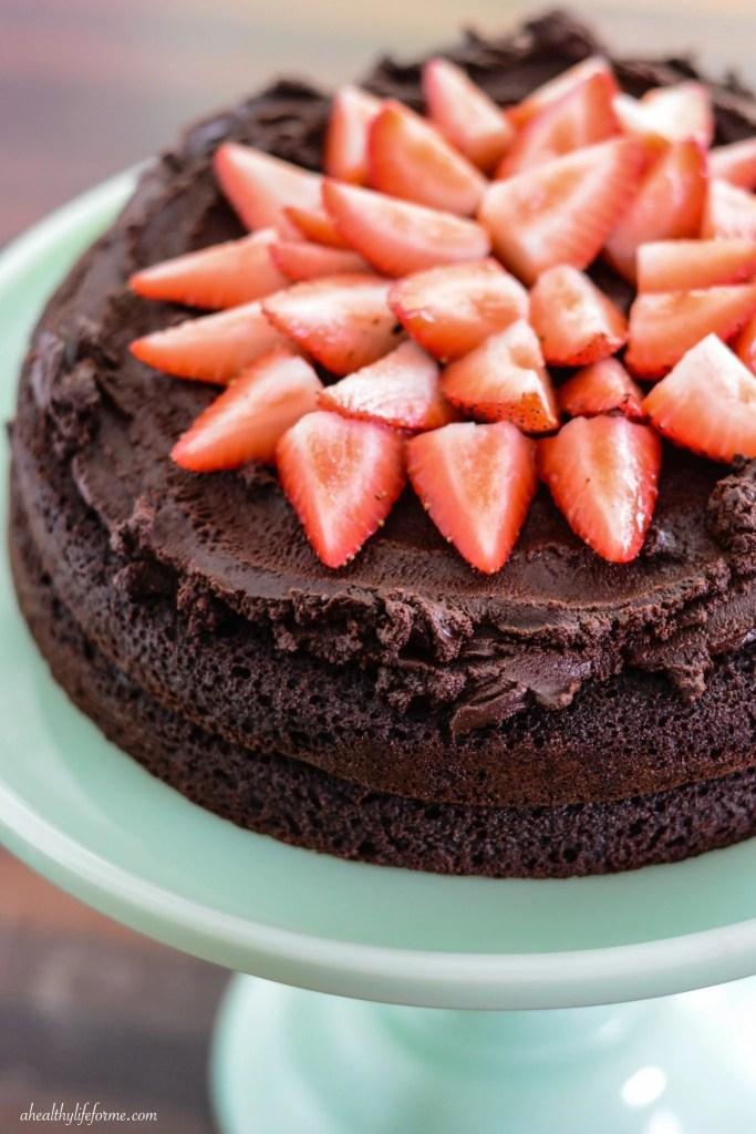 Strawberry Chocolate Paleo Cake | ahealthylifeforme.com