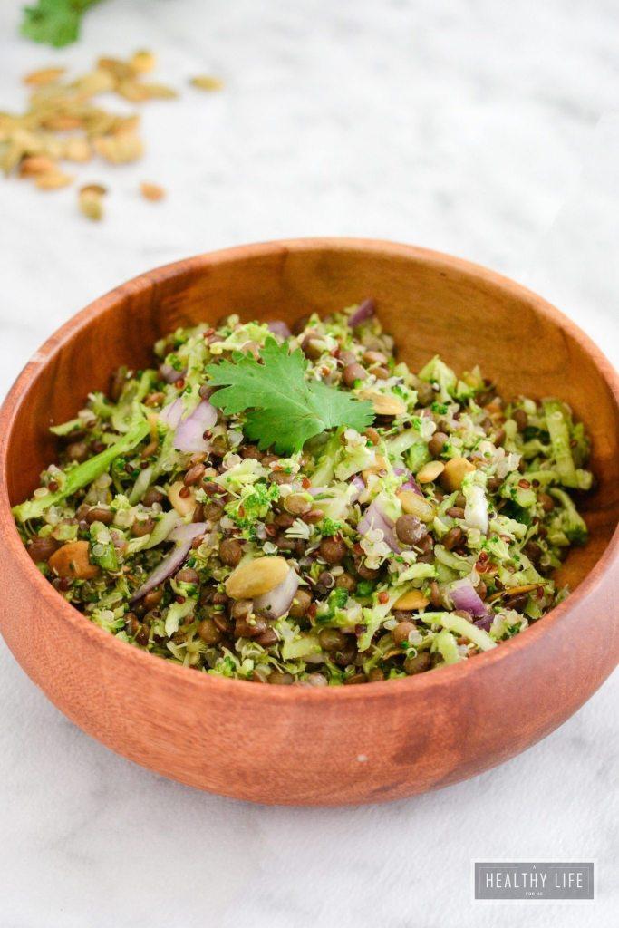 Broccoli Quinoa Lentil Salad Recipe Healthy High Protein and Amino Acid   ahealthylifeforme.com