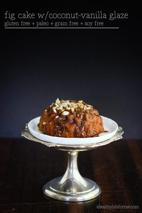 Gluten Free and Paleo Fig Cake with Coconut Vanilla Glaze | ahealthylifeforme.com