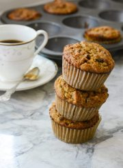 Gluten Free Paleo Grain Free Dairy Free Pumpkin Coconut Chocolate Muffins Recipe | ahealthylifeforme.com