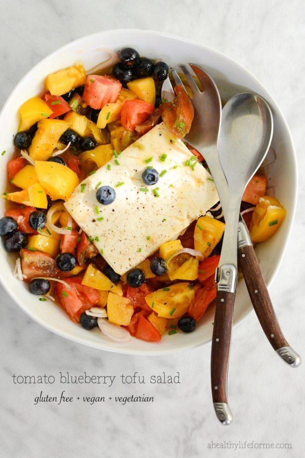 Gluten Free | Vegan Tomato Blueberry Tofu Salad | ahealthylifeforme.com